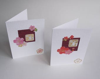 2 x rabbit and blossom cards Ume Sakura Cherry Plum, vintage Japanese silk, Spring time Easter greetings card pink red gold