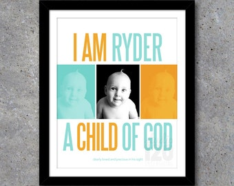 CHILD OF GOD Custom Wall Art – Printable Digital File – 8x10 – Modern – Personalized – Baby – Boy – Nursery – Newborn Gift – Aqua – Orange