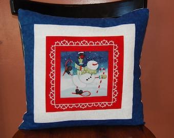 Snowman Pillow, Christmas Decor, Winter Decoration