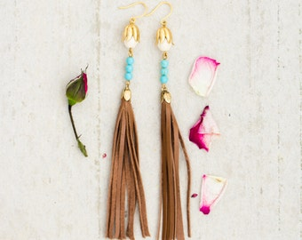 Leather and Turquoise Tassel Dangle Earrings, Shoulder Duster Earrings, Long Tassel Earrings, Tassel Earrings, turquoise earrings, fringe