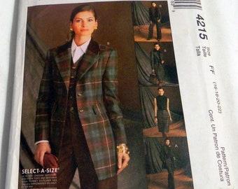 "Below Hip jacket Vest Welt Straight pants Skirt side pockets sewing pattern McCalls 4215 Plus Size 16 18 20 22 Bust 38 40 42 44"" UNCUT FF"
