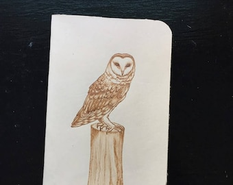 Refillable Leather Journal with Burned Perched Barn Owl Design
