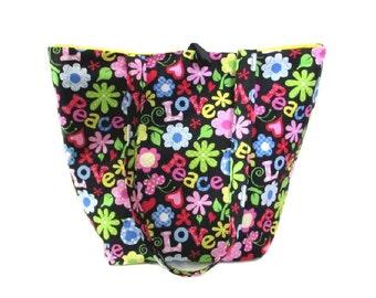 Love Tote Bag, Floral Cloth Purse, Peace, Flowers, Black Fabric Bag, Handmade Handbag, Hippie Shoulder Bag