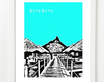 Bora Bora Art - Bora Bora City Skyline Poster - Bora Bora French Polynesia - VERSION 1
