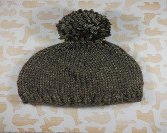 Newborn gray winter hat with pom pom;  bulky newborn hat