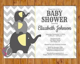 Elephant Baby Shower Invitation Gender Neutral Grey Yellow Stacked Elephants Invite Printable 5x7 Digital JPG File (76)