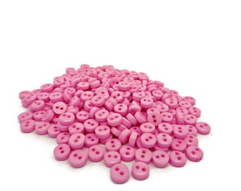 50 tiny pink buttons, baby pink buttons, 6mm buttons, tiny pink buttons, pink micro buttons, uk buttons, sewing supplies, sewing buttons