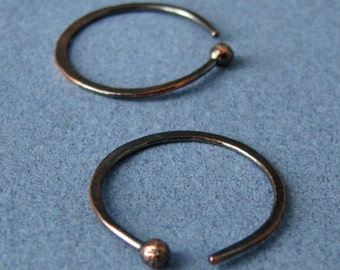 Hammered Hoops, Rustic Copper Earrings, 20 gauge, 16mm OD