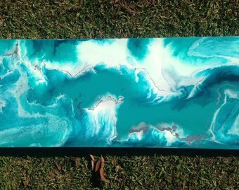 Resin Art - Aqua, Silver & White - Made to Order