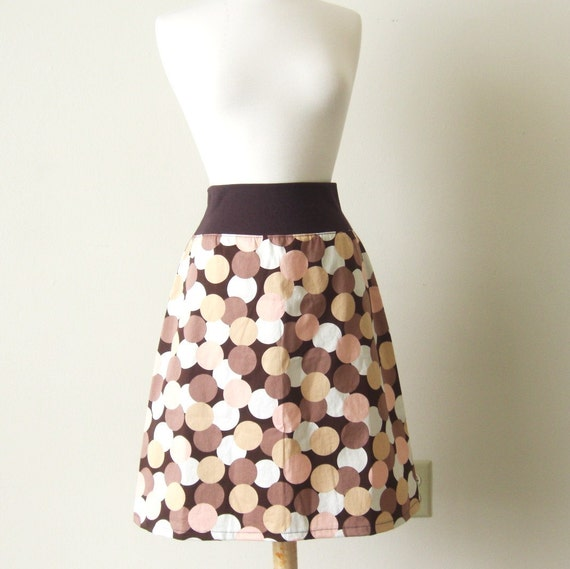 Brown Cotton Skirt geometric print aline Polka Dot circle Print knee length yoga waistband women's brown skirt Made to Order