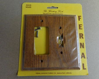 Fernal Combo Plate Switchplate plus single Outlet Cover solid wood Decorator Switchplate NOS New Old Stock
