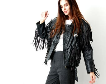 Vintage 80s Western Fringe Leather Jacket / Fringe Biker Jacket /  80s Leather Jacket / Motorcycle Jacket / Cowboy Jacket / Size M