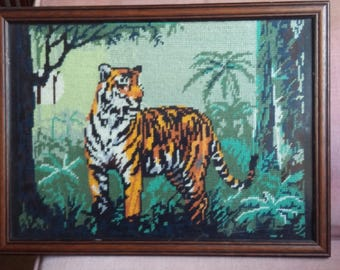 Vintage Tapestry Hunting Tiger