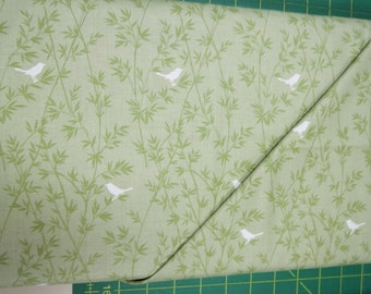 Green white birds fabric. Asami collection quilt quilting cotton Andover 4099