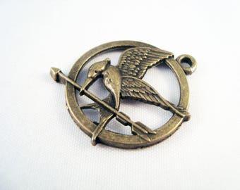 BDP66 - Bronze Locket pendant, bird and arrowhead charm
