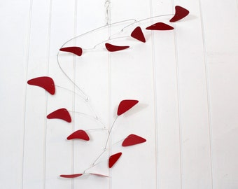 Large Mobile, Mid Century Modern Mobile, Kinetic Art, Mobile, Modern Home Art, Modern Business Art, Red Mobile, Sculpture