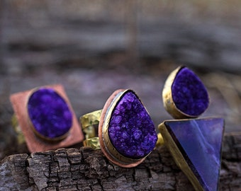 PURPLE DRUZY RING - Solid Brass and Copper