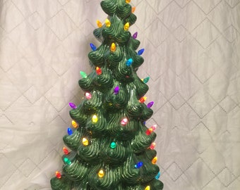"""Ceramic Christmas Tree 23"""" tall Recently cast from Atlantic Mold #834 Complete with light kit and bulbs"""