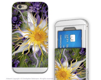 Lotus iPhone 6 6s Card holder Case with Purple and Yellow Floral Art - Bali Dream Flower - Wallet Case for Apple iPhone 6s with Rubber Sides