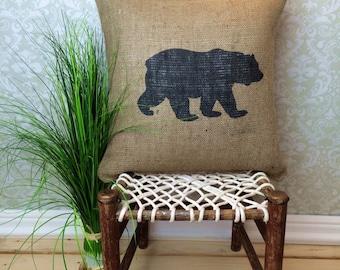 Bear Pillow, Bear Silhouette,Cabin Pillow,  Cabin Decor, Rustic Home Decor, Cabin Art