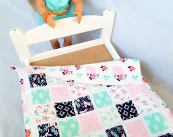 Doll Quilt - pink, mint, navy, unicorns