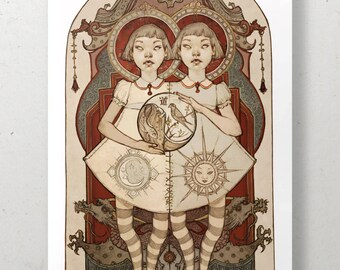 The Way, Daoist Conjoined Twins Illustrated Art Print