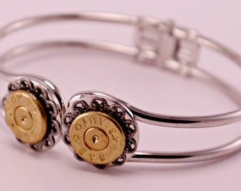 Annie Get Your Gun Recycled Brass Bullet Gunshell Bracelet Cuff 45 Gauge
