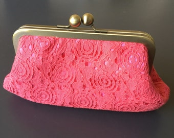 Coral Vintage Cotton Lace Clutch