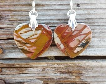 Red Creek Jasper Sterling Silver Heart Earrings, Small Heart Jasper Stone Earrings, Small Heart Jasper and Sterling Silver Earrings