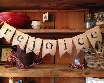 Burlap Rejoice Bunting, Christmas Bunting, Holiday Decoration, Pennant, Garland