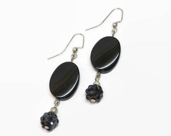 Black Dangle Earrings, Elegant Black Earrings, Black Prom Earrings, Black and Silver Bridesmaid Earrings, Black Sparkle Earrings