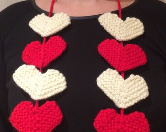 Hand knit heart necklace/scarf/mobile/wall hanging
