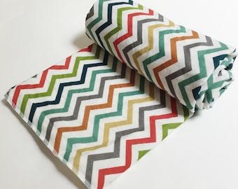 ORGANIC Swaddle Blanket 100% double gauze cotton - Rainbow Chevron