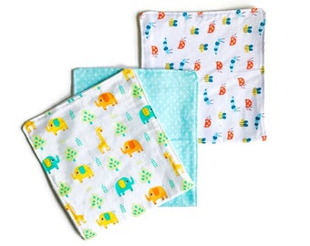 Baby Burp Cloths, Set of 3, Burp Cloth Set, Boy Burp Cloth Set, Baby Shower Gift, Infant Burp Cloth