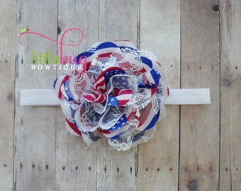 Red White Blue Headband, Red White Blue Hair Bow, America Headband, 4th of July, Flag, Baby Girl Headband, Memorial Day Headband, USA Bow