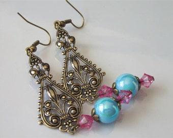 Gypsy Earrings, Antiqued Gold, Floral Filigree Earring Jewelry, Brass Jewelry, Pink and Blue Lucite, Boho Dangle, Filigree Jewelry