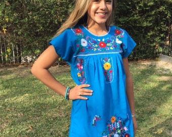 XL Blue Mexican Dress
