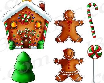50% OFF Gingerbread Clipart, Gingerbread Clip art, Graphics, Gingerbread House, Christmas Clipart, Ginger Bread, PNG JPEG, Download