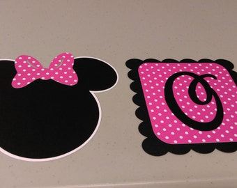 Age ONE Minnie Mouse Birthday Banner, High Chair Banner, Pink Minnie Banner, DIY Banner, High Chair Birthday Banner