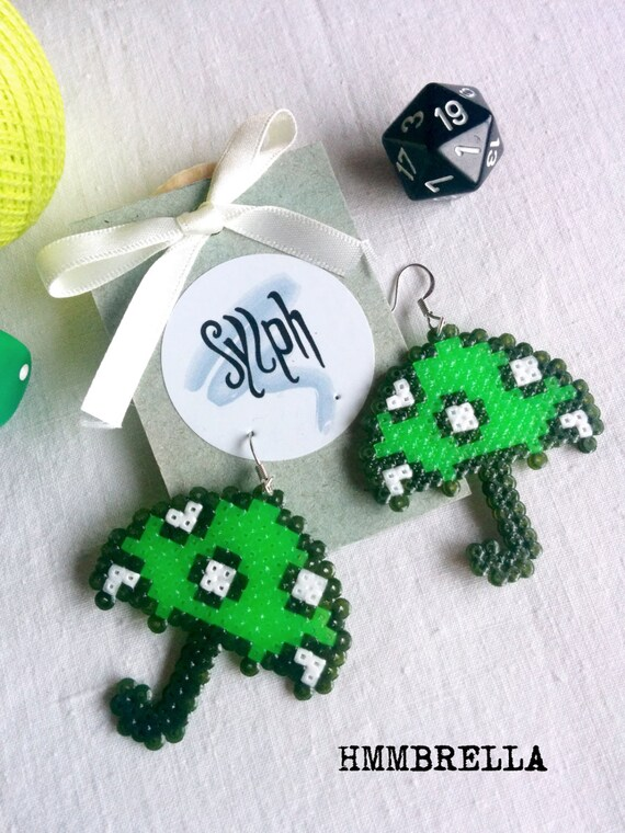 Geeky neon green pixelated umbrella with white polkadots, perfect for those rainy autumn days