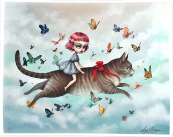 The Kitty Rider - Limited Edition signed 11x14 Pop Surrealism Fine Art Print by Mab Graves