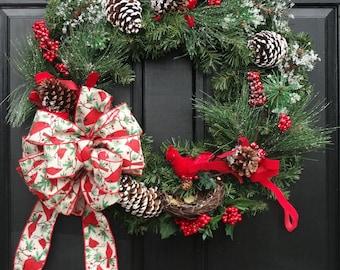 Christmas Cardinal Wreath, Front Door Christmas Wreath with Cardinal, Wreath for Christmas Front Door Decor, Winter Wreath for Front Door