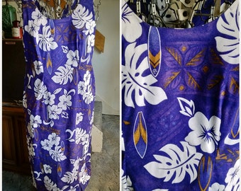 Vintage TY Made in Hawaii Purple White & Brown Tiki Print Hawaiian Maxi Dress XL PLUS