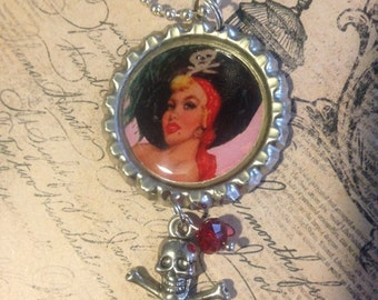 Pirate Wench Charm Bottlecap Necklace