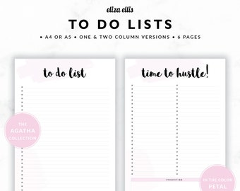 TO DO LISTS / To Do List Printable / 2018 Planner / Printable To Do Lists / To Do List / To Do / The Agatha Planners in Petal / 415