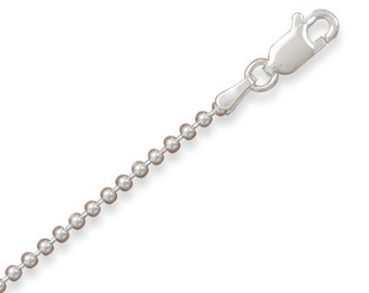 1.8 mm 16 INCH BEAD Chain Necklace - 925 Sterling Silver