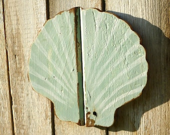 Scallop Wall Hanging Tongue and Groove Reclaimed Lumber Sea Shell Pale Green, Cream