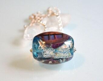 Glass bead lampwork, glass flower, artist, necklace - pendant, design by Kokopella
