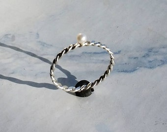White Pearl Ring, Silver Pearl Ring, June Birthstone, Engagement, Dainty Jewelry, Braided Ring, Thin Promise Ring, Freshwater Pearl