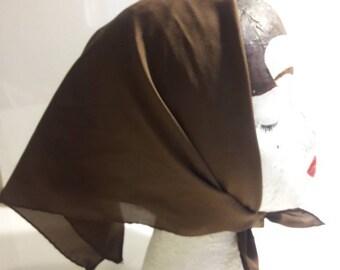 Dark Chocolate brown vintage scarf retro square